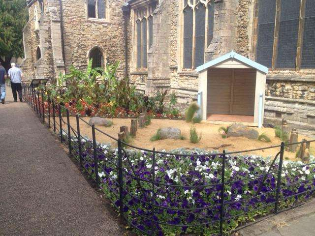The fantasy seaside garden created at St Peter's Church, Wisbech, for this year's Anglia in Bloom contest.