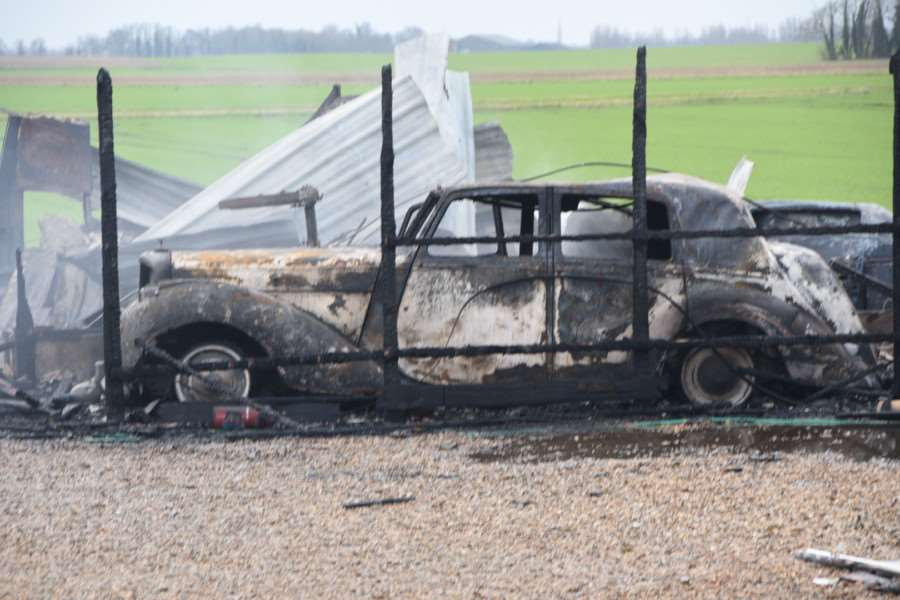 A classic car was also burnt out in the blaze