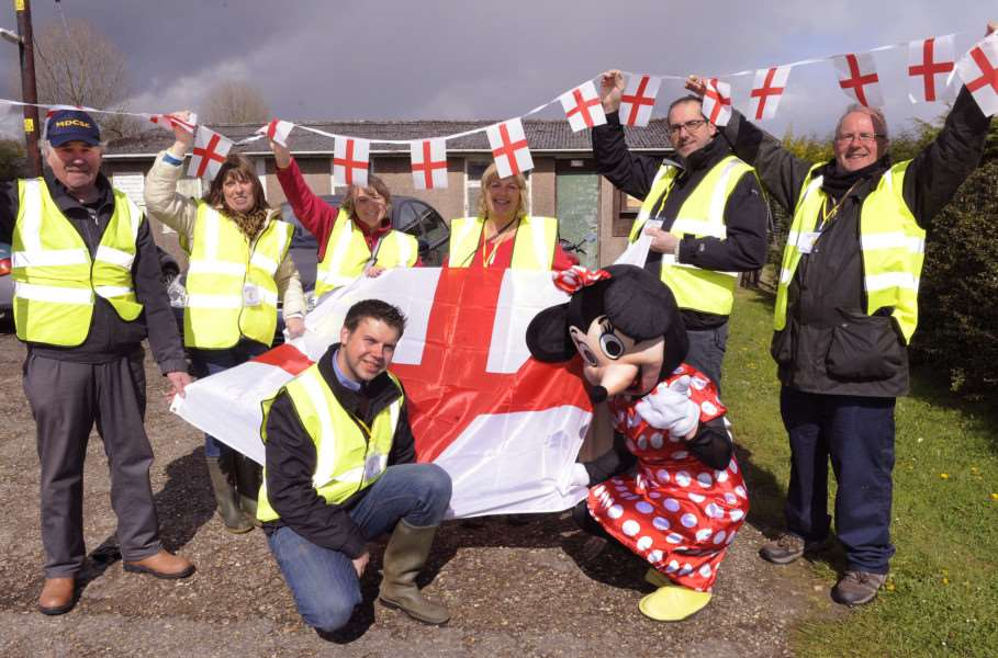 St George's Day Spring Fayre at Marshland St James Playing Field, iao new building fund at the playing field.'Getting the fayre underway are committee members Back LtoR, David Gathercole, Sue Askew, Sonya Gowler, Steph Reeve, Martin Peckitt, Andy Stephens'Front LtoR, Lee Chapman, with a little help from Minnie Mouse. ANL-160425-072433009
