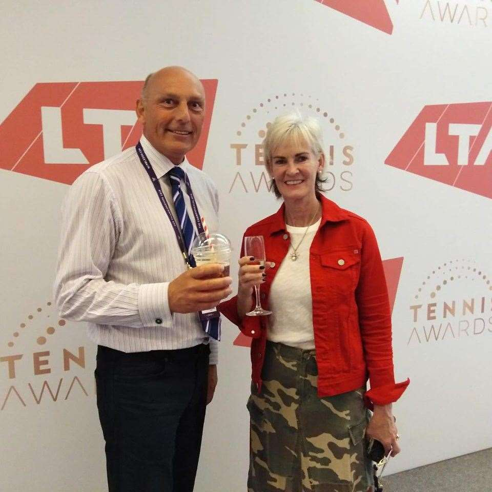 Simon Grainger collects the Lawn Tennis Association's Lifetime Achievement Award and meets Judy Murray. Photo: Facebook/Matty Grainger. (13389694)