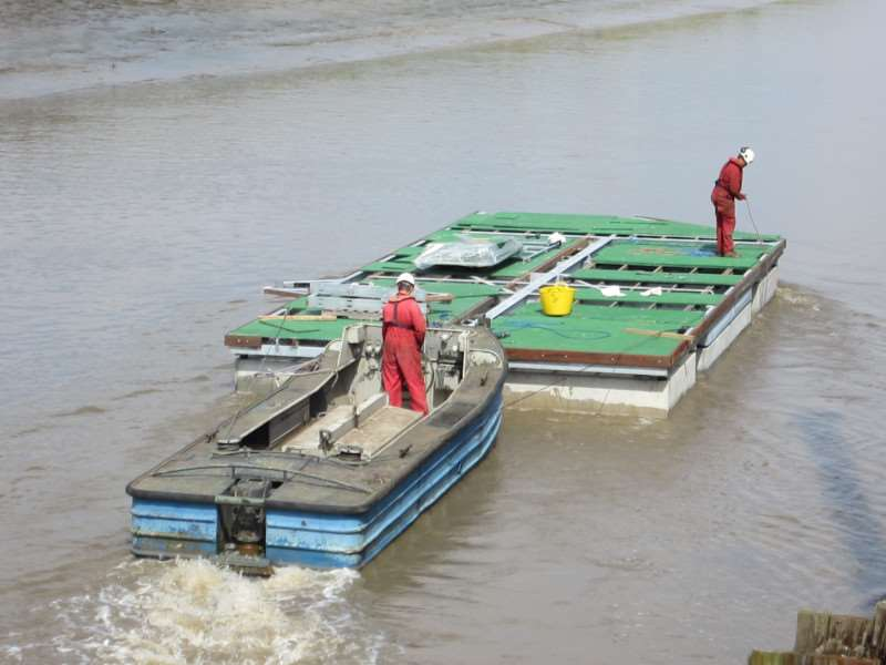 The pontoons have been floated down the River Nene from Wisbech