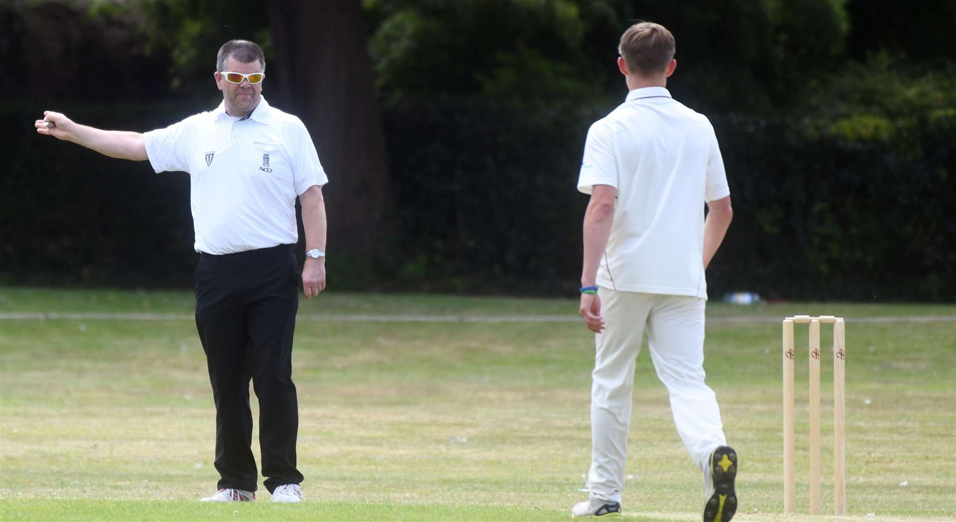 Long Sutton's James Baker was no balled after bowling out Peter Mitchell.