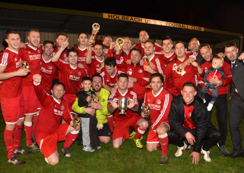 Holbeach United FC, Carter's Park - Inter Services Cup final Long Sutton Athletic v Tydd St Mary'Tydd celebrate with trophy