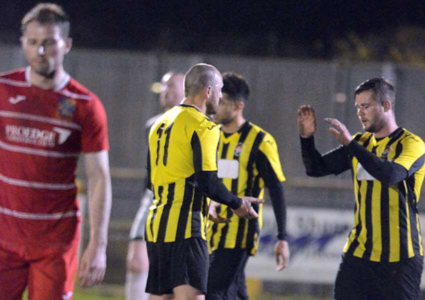 Josh Ford celebrates scoring against his former club. Photos by Tim Wilson