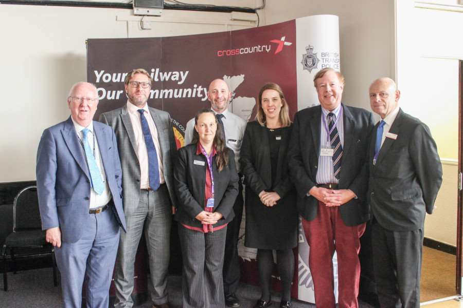 Pictured at the conference are, from left, Cllr Ian Bates, chairman of Cambridgeshire County Council's economy and environment committee; Combined Authority Mayor James Palmer; Wendy Otter, Fenland District Council's Transport Development Manager; Chris Leech, Business Community Manager for CrossCountry; Hayley Bull, Stakeholder Liaison Manager for CrossCountry; Cllr Simon King, FDC's Portfolio Holder for Transport; and Alan Neville from Greater Anglia.