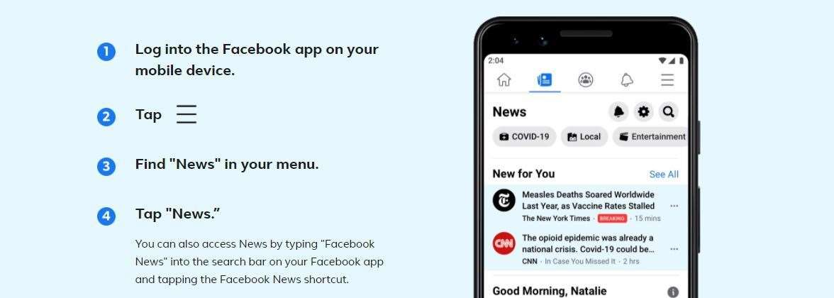 How to access the new Facebook News tab via the app