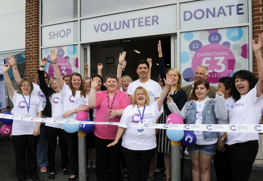 Cancer Research UK launches its first ever superstore in Wisbech, opened by Dawn Statham (centre), who has survived cancer twice and is manager of the charity's shop in Ely.