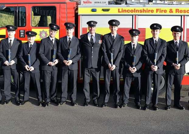 A new group of on-call firefighters will join Lincolnshire Fire and Rescue after successfully completing their training. Photo supplied by Lincolnshire County Council.