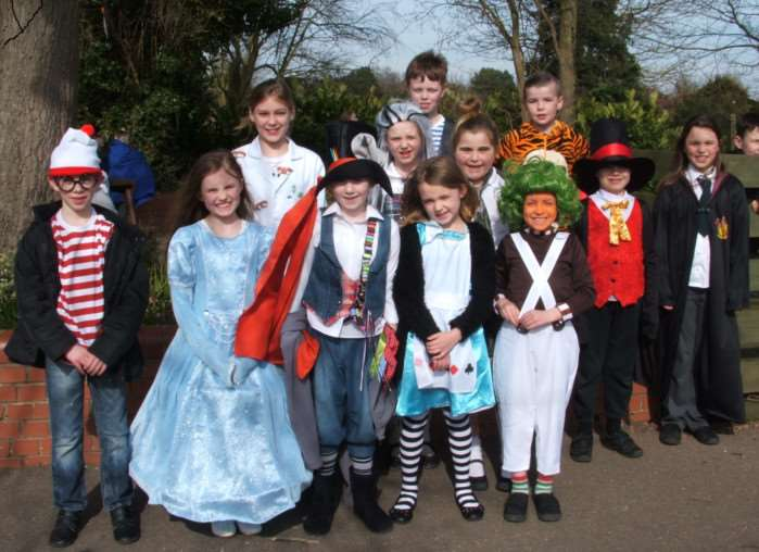 Youngsters from Elm Primary School dress up to mark Book week. ANL-150324-160803001