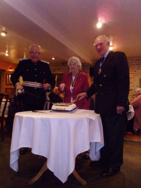 Mr Freddie Grounds MBE left, Mrs Aspinall middle, Captain Victor Lucas right ANL-160104-084437001