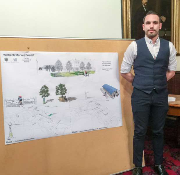 Liam Towler from Peter Humphreys Associates with the drawing of how Wisbech Market Place might look.