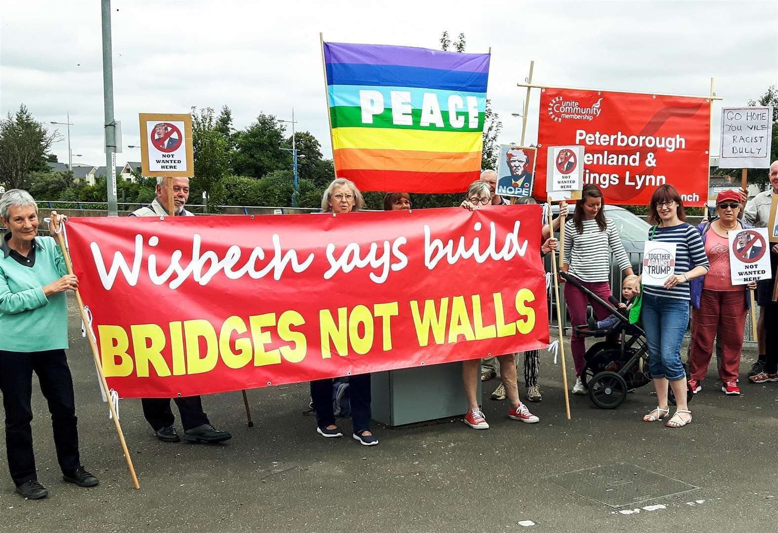 Wisbech, March and District Trades Council has previously supported the 'build bridges not walls' protests. (26821353)