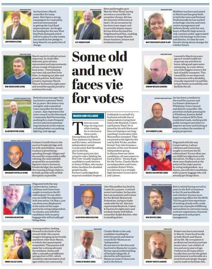 Fenland prepares to go to the polls - here is a round-up of candidates published in this week's Citizen. (9461376)