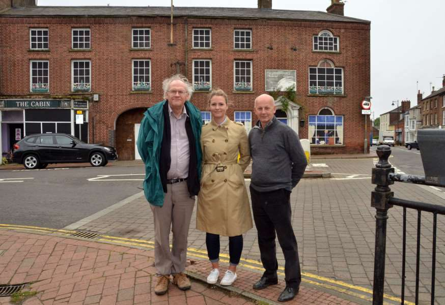 The Bull Hotel, Market Place/Bull Lane, Long Sutton, group pic with Couns Tim Machin , Laura Eldridge, Jack Tyrrell,