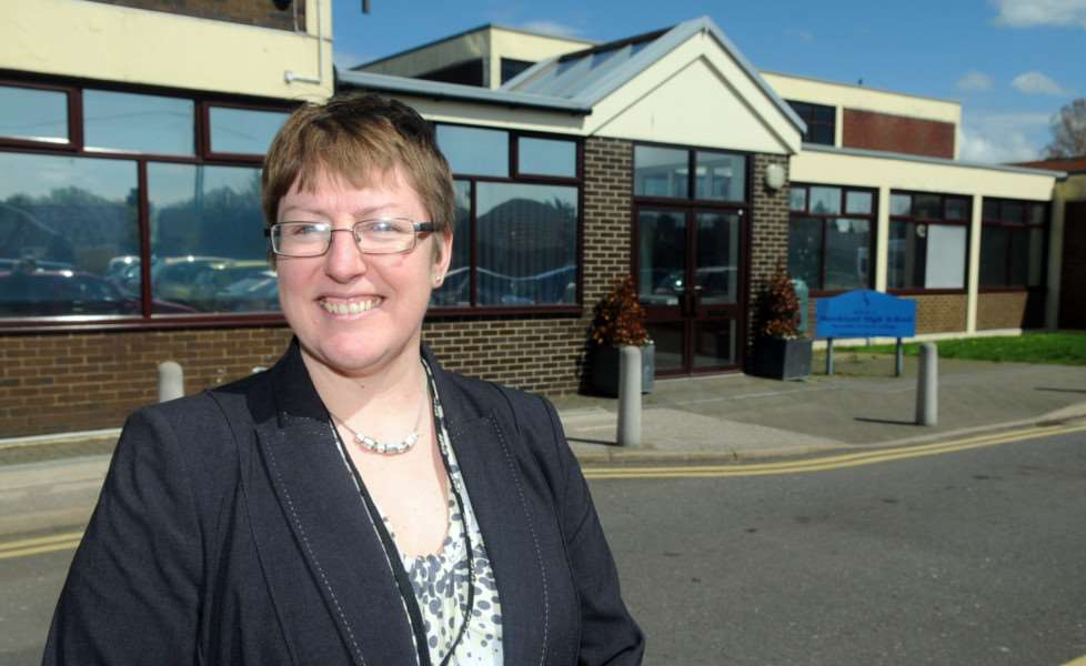 Headteacher Elizabeth Dormor outside the front of Marshland High School.