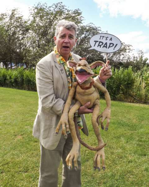 Tim Rose of Star Wars fame with Salacious Crumb - one of the characters he played in the films.