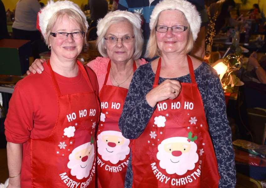 Christmas bazaar and table sale, Walpole Highway village hall. 'left to right Linda Fisher, Jean Paton and Maureen Brittain and back Steve Brittain ANL-151115-155233009