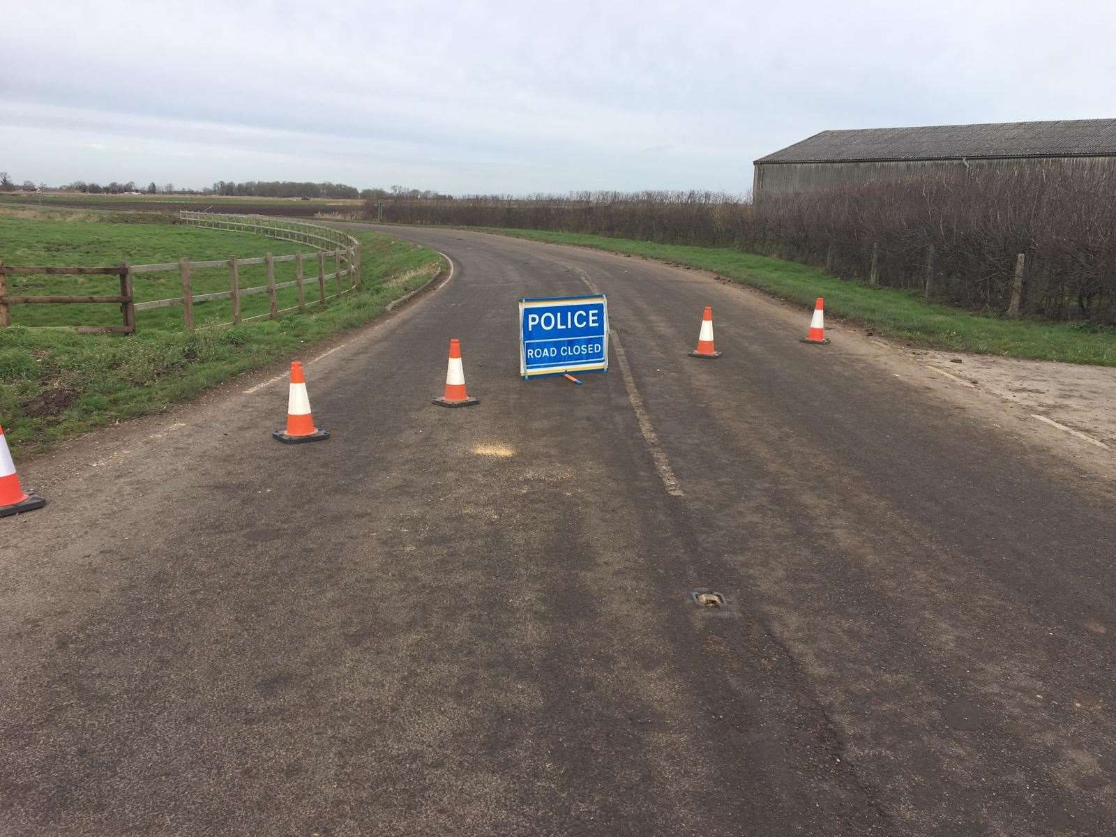 The road is closed between Benwick and Turves. (28673985)