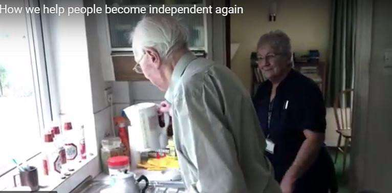Cambs County Council releases video highlighting work of its reablement services team - care worker Margaret Else helps John Drummond get back his independence.