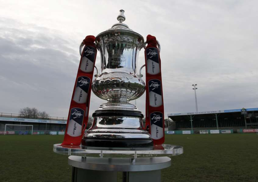 The FA cup trophy on display at Blyth Spartans, Croft Park