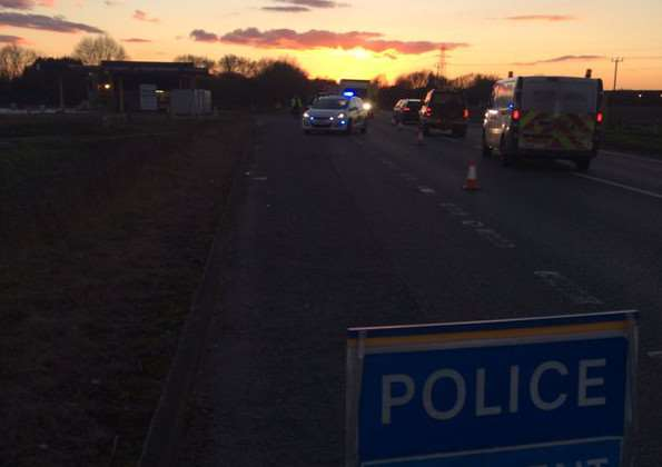 The scene on the A47 near Wisbech this evening
