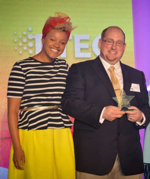 Leigh Sessions with awards host, Radio 1 presenter Gemma Cairney.