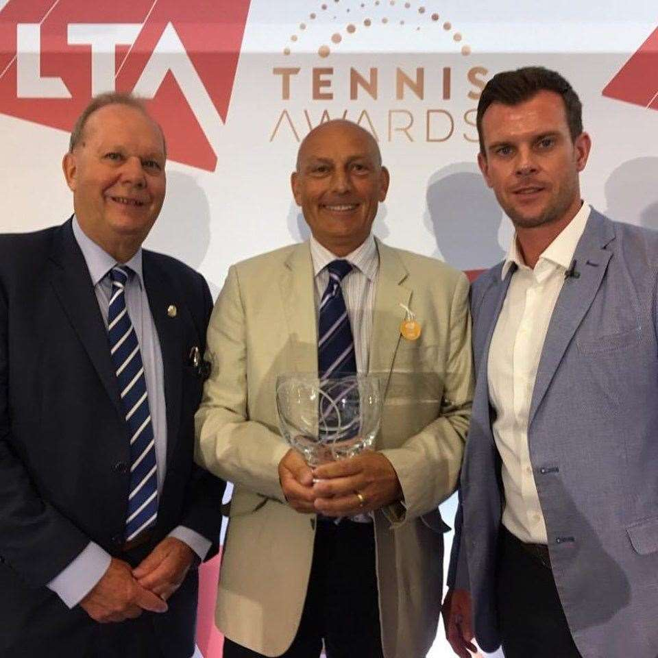 Simon Grainger collects the Lawn Tennis Association's Lifetime Achievement Award. Photo: Facebook/Matty Grainger. (13389688)