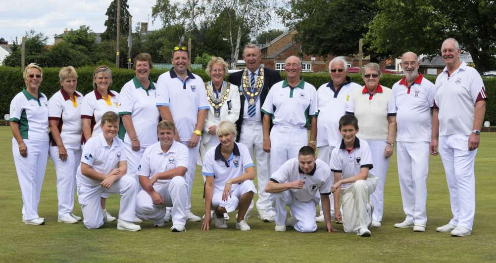County Outdoor Bowls finals at Upwell Bowls Club Ground, some of the players involved in the event, line up with officials. ANL-150720-081123009