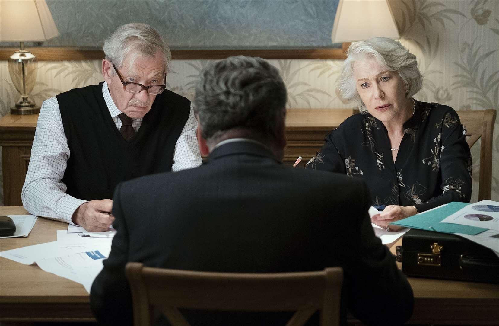 Undated film still handout from The Good Liar. Pictured: Sir Ian McKellen as Roy Courtnay, Jim Carter as Vincent and Dame Helen Mirren as Betty McLeish. PA Feature SHOWBIZ Film Reviews. Picture credit should read: PA Photo/Warner Bros. Entertainment Inc./Chiabella James. All Rights Reserved. WARNING: This picture must only be used to accompany PA Feature SHOWBIZ Film Reviews. (20887779)
