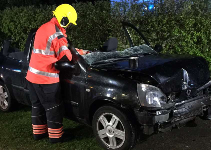 The collision in Parson Drove - photo: Cambridgeshire Fire and Rescue Service