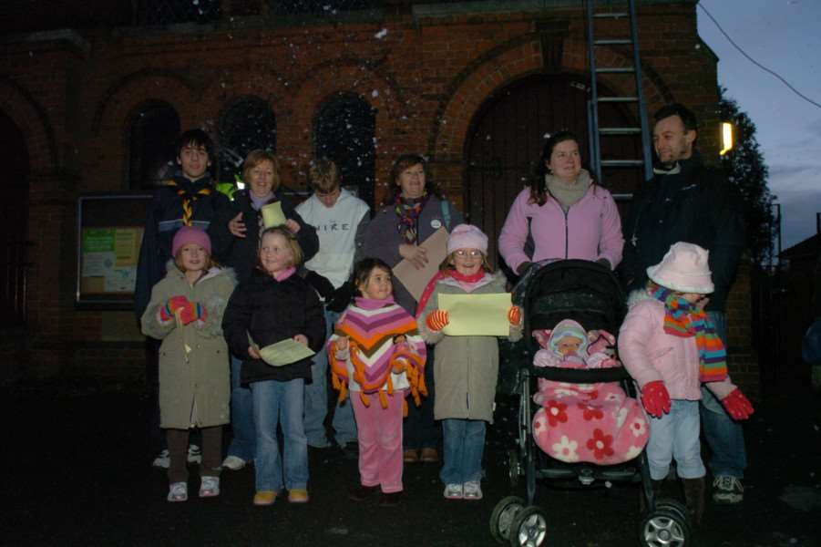 Flashback to a previous Doddington lights switch on outside the village hall.