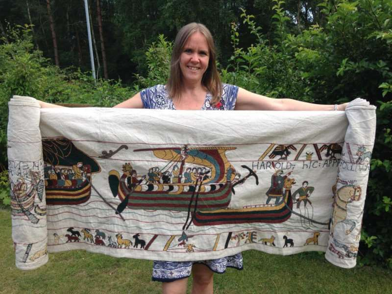 Mia Hanson from Wisbech is recreating the Bayeaux tapestry.