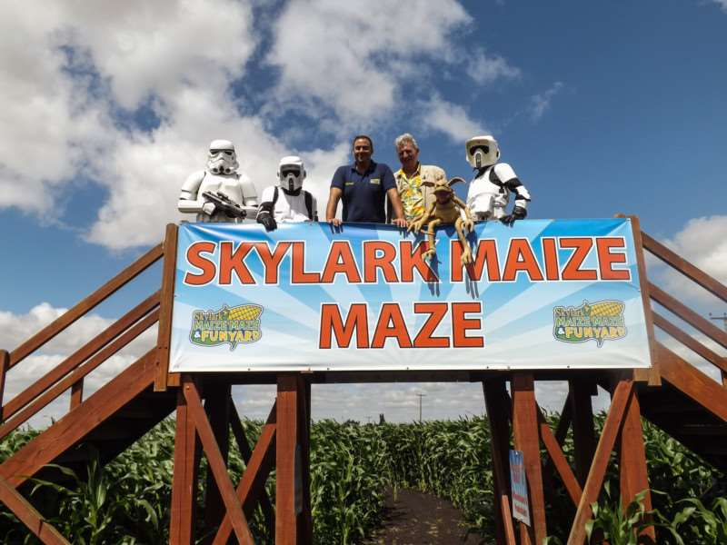 Tim Rose and Skylark's Ed Gowler with the Storm Troopers on the bridge in the middle of the maize maze.