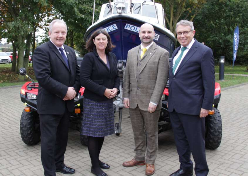 Coun Stuart Tweedale, deputy PCC for Lincolnshire, Julia Mulligan, chairman of the National Rural Crime Network and PCC for North Yorkshire, Coun Marc Jones, PCC for Lincolnshire, and Lorne Green, PCC for Norfolk.