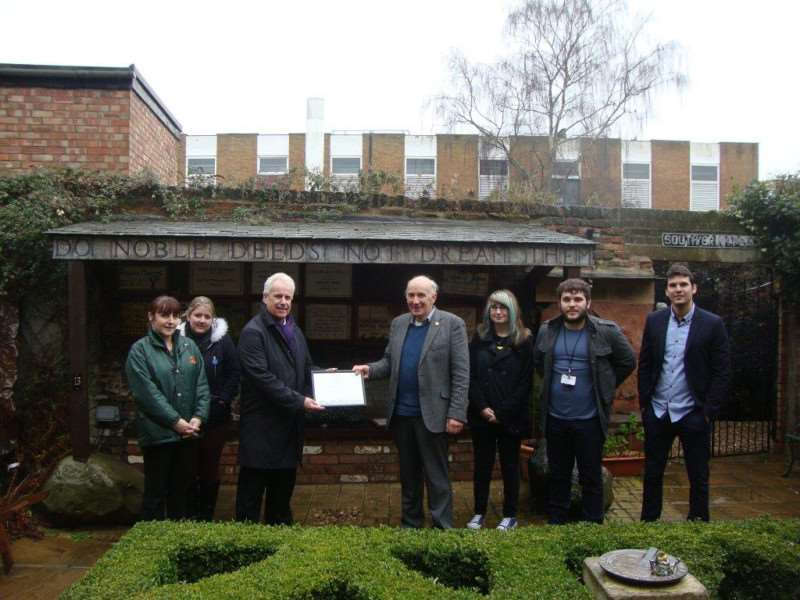 Octavia Hill's Birthplace House receives an award from the Royal Horticultural Society. Pictured, from left, is Dawn Mattless (Orchards School), Miranda Keen (Orchards School), Bob Ollier (Parks and Open Spaces Manager ' Fenland District Council), Peter Clayton (Chairman Octavia Birthplace house) , Harriet Chapman (College of West Anglia), Oliver Fulcher (Orchards School) and Sergio Salorio Jimenez (Tin Fish Creative Communications).