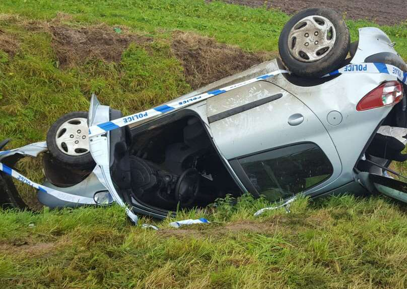 A Peugeot 206 left the road and overturned into a ditch in Little Sutton on Friday night.