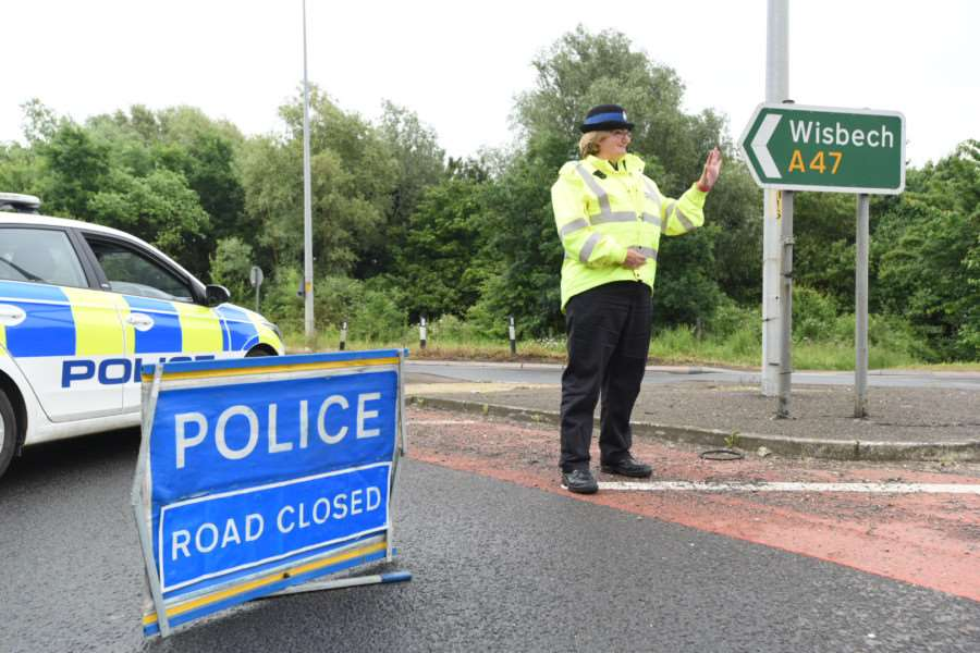 The scene of the closure on the A47