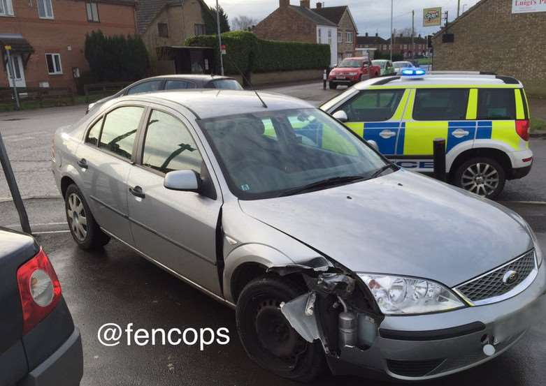 The crashed car: Picture: @fencops