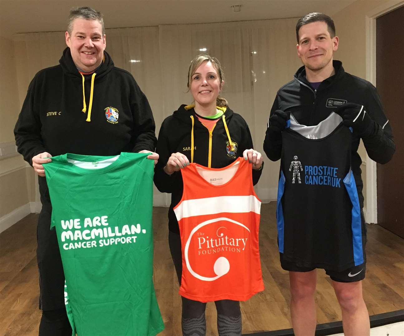 Steve Clarke, Sarah Johnson and Graham Rushmer with their charity vests ready for London landmarks Half (6961036)