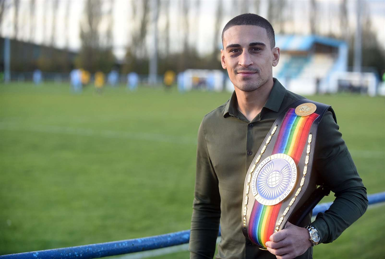 Jordan Gill at Chatteris Town FC with his Commonwealth Title. (5191504)