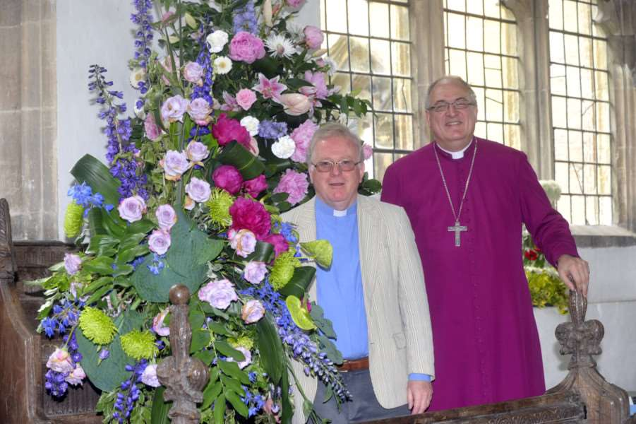 Bishop of Ely Bishop Stephen Conway at the Walpole St Peter Church flower festival with Rev Neil Batcock ANL-140206-121511009