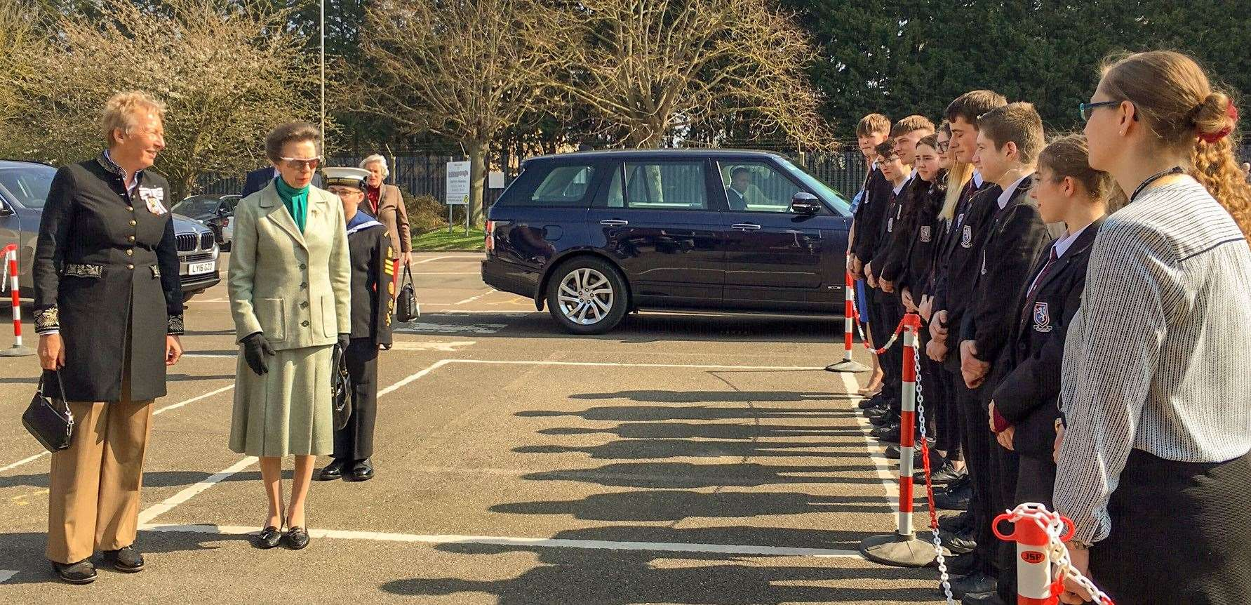 Princess Anne chats to pupils from Cromwell Community College on arrival. (8155309)