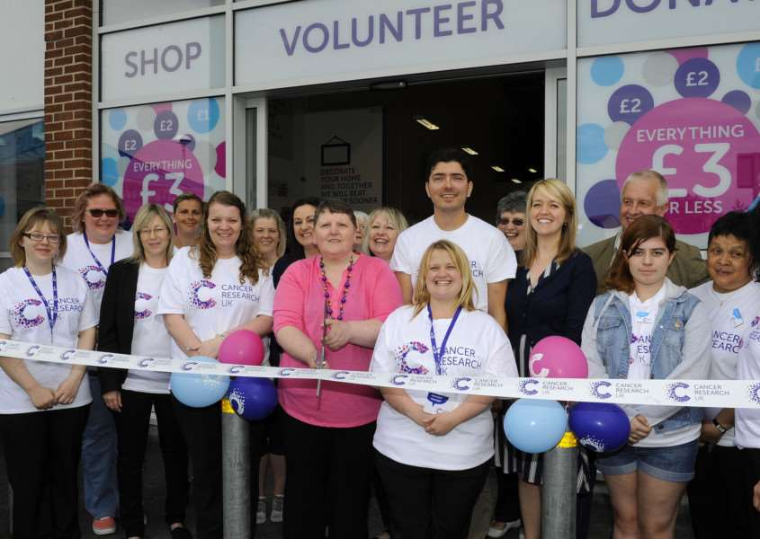 Cancer Research UK new shop unit opens in Wisbech, opened by Dawn Statham (Centre) (Dawn is the shop manager at Ely and also has survived cancer twice). ANL-150627-084251009