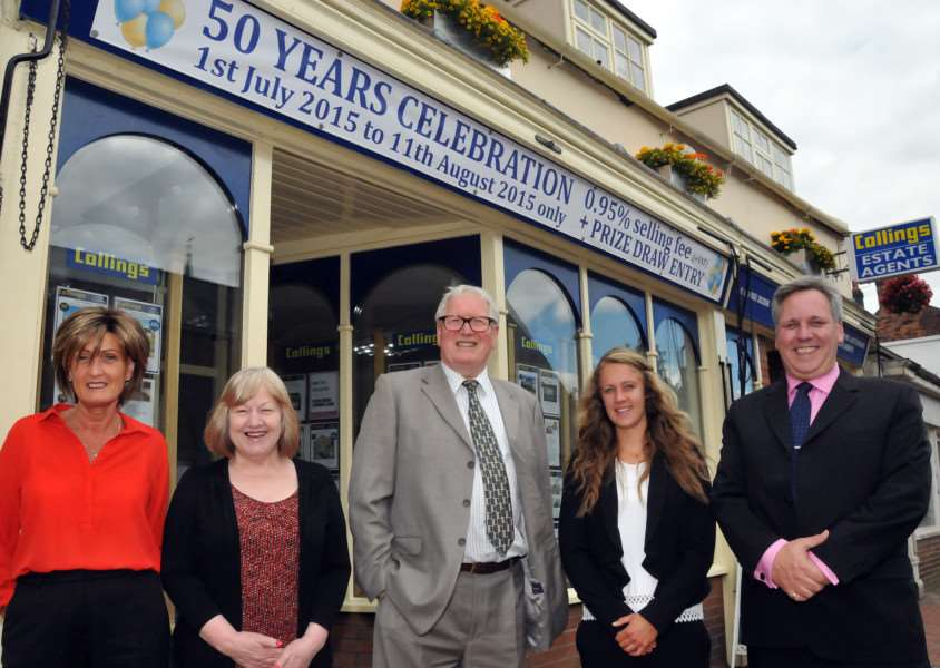 BUSINESS RATE WORRIES: David Wilson (centre), partner with Geoffrey Collings Estate Agents, Long Sutton, celebrates its 50th anniversary with colleagues Sue Byrne, Kathleen Franklin, Amy Wells and Richard Tasker. Photo by Tim Wilson. SG270715-154TW. ANL-150727-150942009.