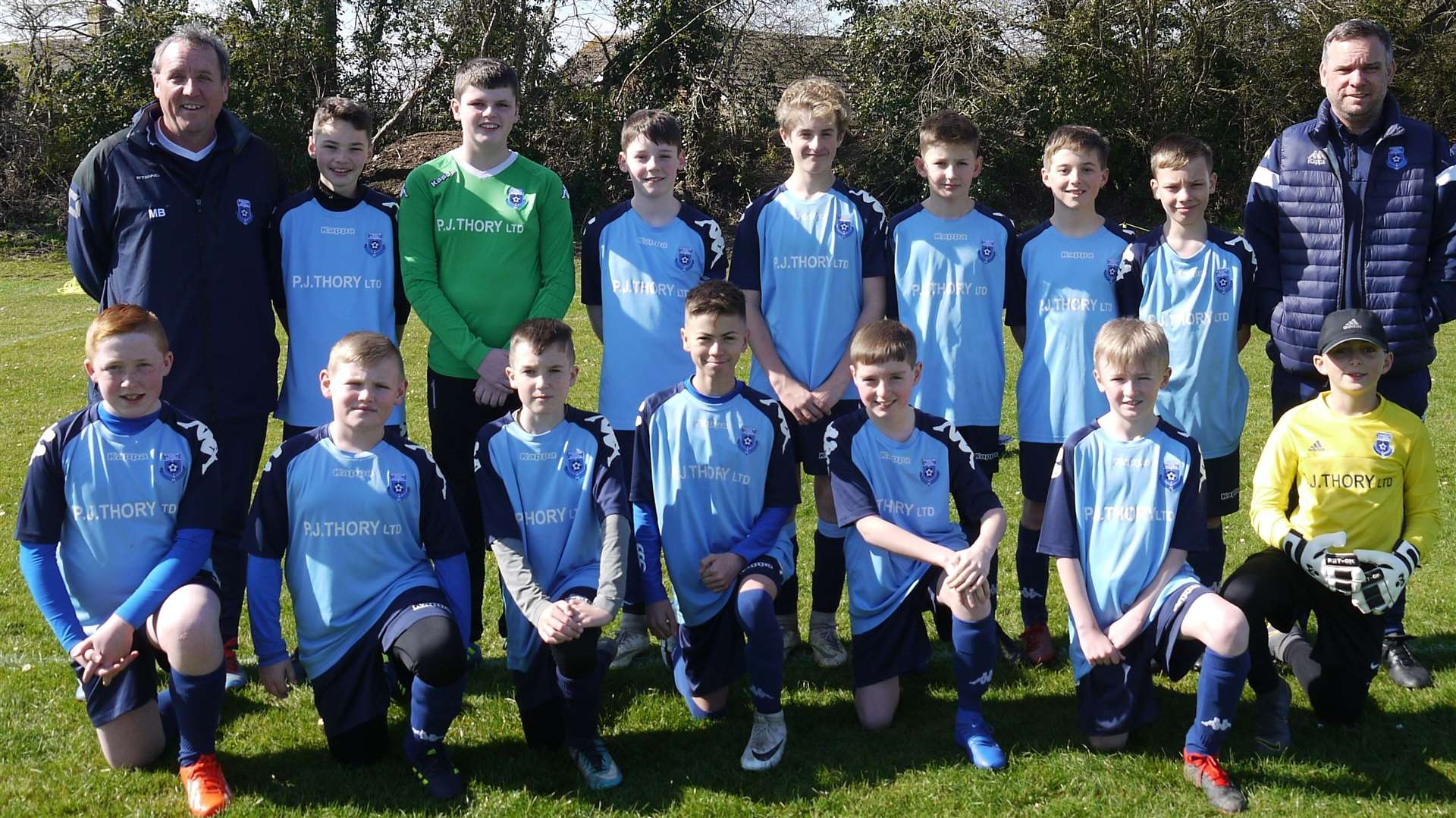 March Park Rangers U12 FC. Back from Left: Jake Singleton, Luke Buckle, Tom Birch, Theodore Willis, Max Arnold, Luther Ball, Joseph Brighty.Front: Will Cooper, Charlie Moore, Stevie Butterworth, Lewis Jarrald, Jack Sears, Max Brighty, Josh Peachey. Coaches: Mark Birch (left), Simon Brighty (right). (8061327)