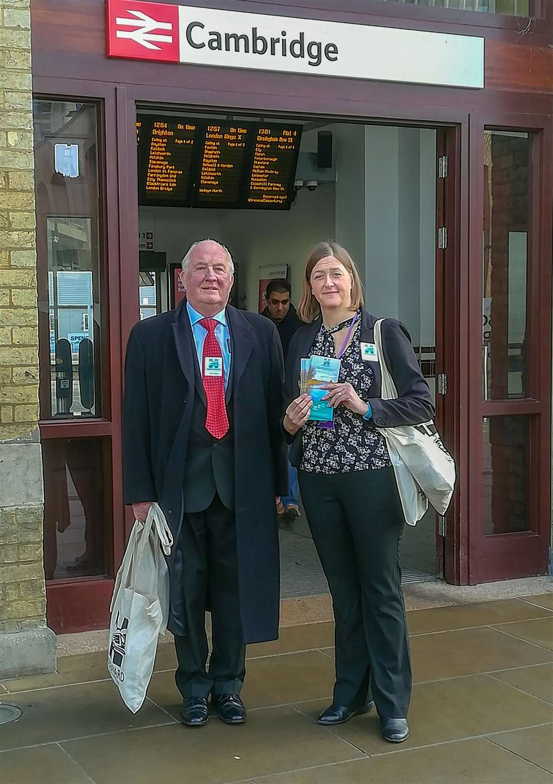 Cllr Kit Owen and Belinda Pedler, Senior Transport Officer at Fenland District Council, travel on the Hereward Line to Cambridge to share CRP information and its ideas for future development with passengers. (7218850)