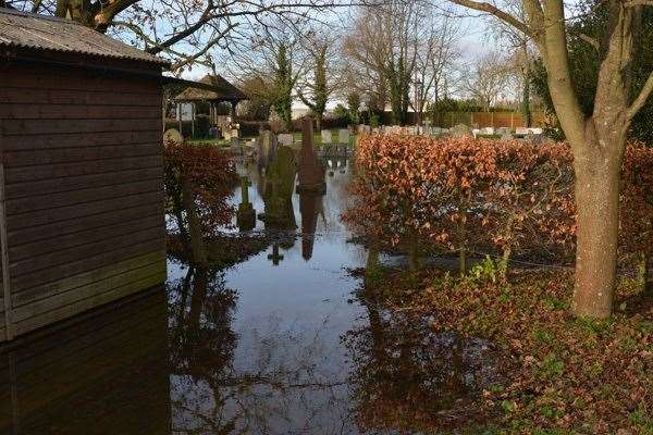 St Mary's Churchyard and church hall have been flooded twice in the past six weeks. (44370476)