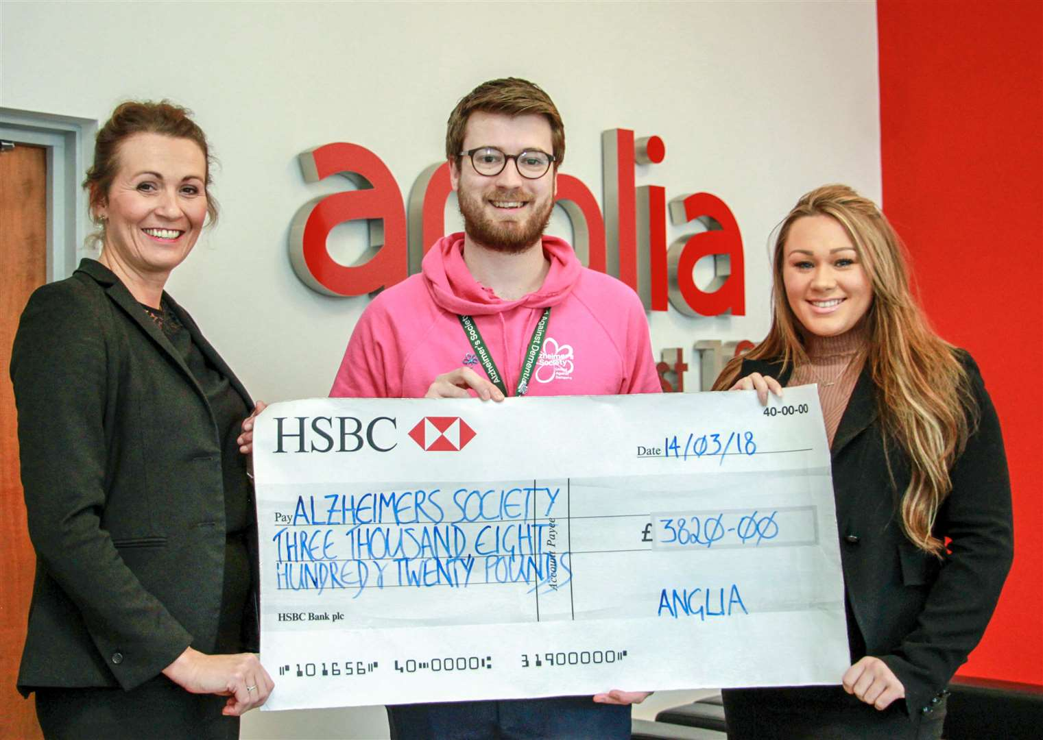 From left: Hayley Waltham (Anglia) Jordan Hughes, (Alzheimer's Society) and Gina Mason (Anglia). (2103346)