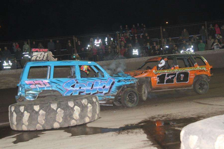 Nicky Young (791) exchanges a head on with Ugley's Chris Shipp in the 4x4 Bangers on Saturday night.