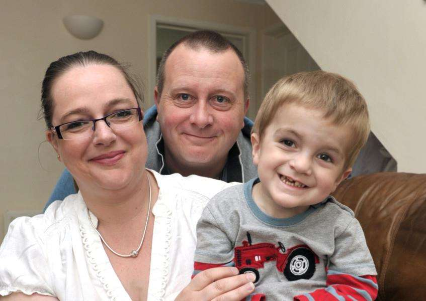 Harriet James, Malcolm James and her son Tommy James who suffers with genetic condition which has no name (Syndrome without a name SWAN) she is raising money and awareness. ANL-150419-162004009